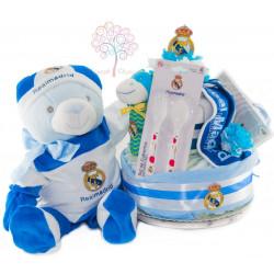 Tarta de pañales Real Madrid con peluche