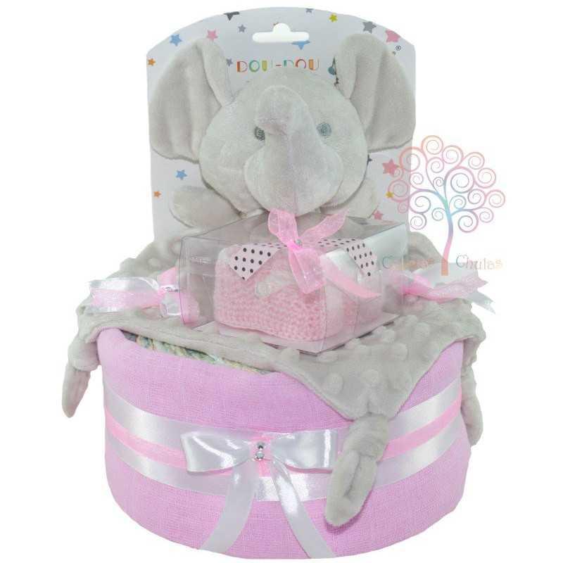 Tarta de pañales elefante rosa