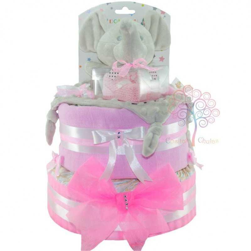 Tarta de pañales patucos rosa