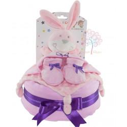 Tarta de pañales conejo rosa