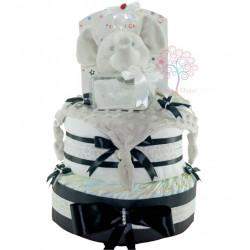 Tarta de pañales elegante y de moda