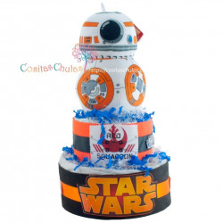 Tarta de pañales Star Wars BB8