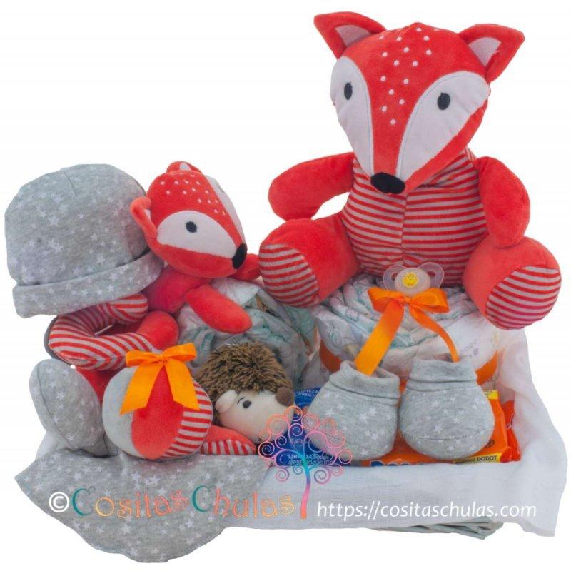cesta canastilla algodon bebe fox